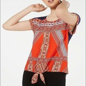 Tribal front knot blouse Size Medium